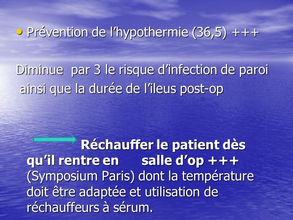 Prévention de lhypothermie (36,5) +++ Prévention de lhypothermie (36,5) +++ Diminue par 3 le risque dinfection de paroi ainsi que la durée de lileus post-op ainsi que la durée de lileus post-op Réchauffer le patient dès quil rentre en salle dop +++ (Symposium Paris) dont la température doit être adaptée et utilisation de réchauffeurs à sérum.