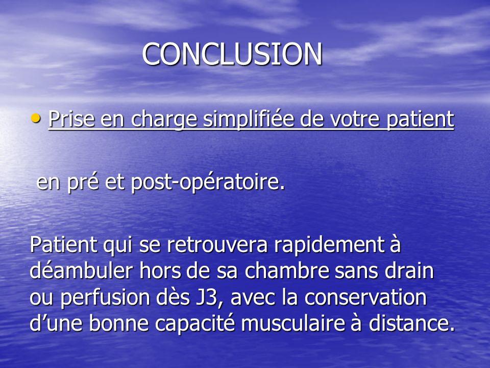 CONCLUSION CONCLUSION Prise en charge simplifiée de votre patient Prise en charge simplifiée de votre patient en pré et post-opératoire.