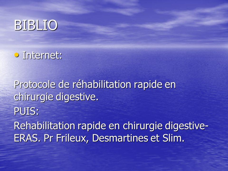 BIBLIO Internet: Internet: Protocole de réhabilitation rapide en chirurgie digestive.