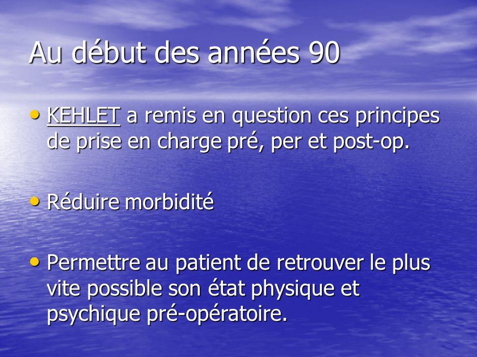 Au début des années 90 KEHLET a remis en question ces principes de prise en charge pré, per et post-op.