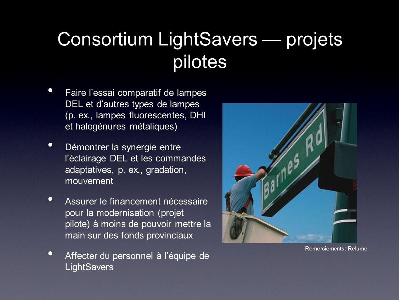 Consortium LightSavers projets pilotes Faire lessai comparatif de lampes DEL et dautres types de lampes (p. ex., lampes fluorescentes, DHI et halogénu