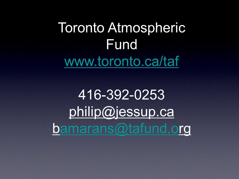 Toronto Atmospheric Fund www.toronto.ca/taf 416-392-0253 philip@jessup.ca bamarans@tafund.orgamarans@tafund.o