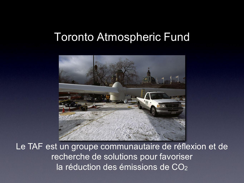 Toronto Atmospheric Fund Le TAF est un groupe communautaire de réflexion et de recherche de solutions pour favoriser la réduction des émissions de CO