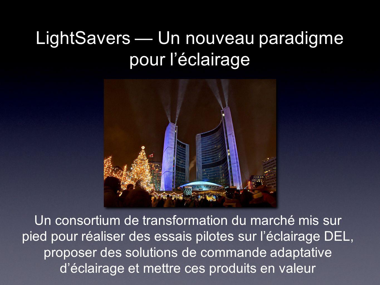 LightSavers Un nouveau paradigme pour léclairage Un consortium de transformation du marché mis sur pied pour réaliser des essais pilotes sur léclairage DEL, proposer des solutions de commande adaptative déclairage et mettre ces produits en valeur