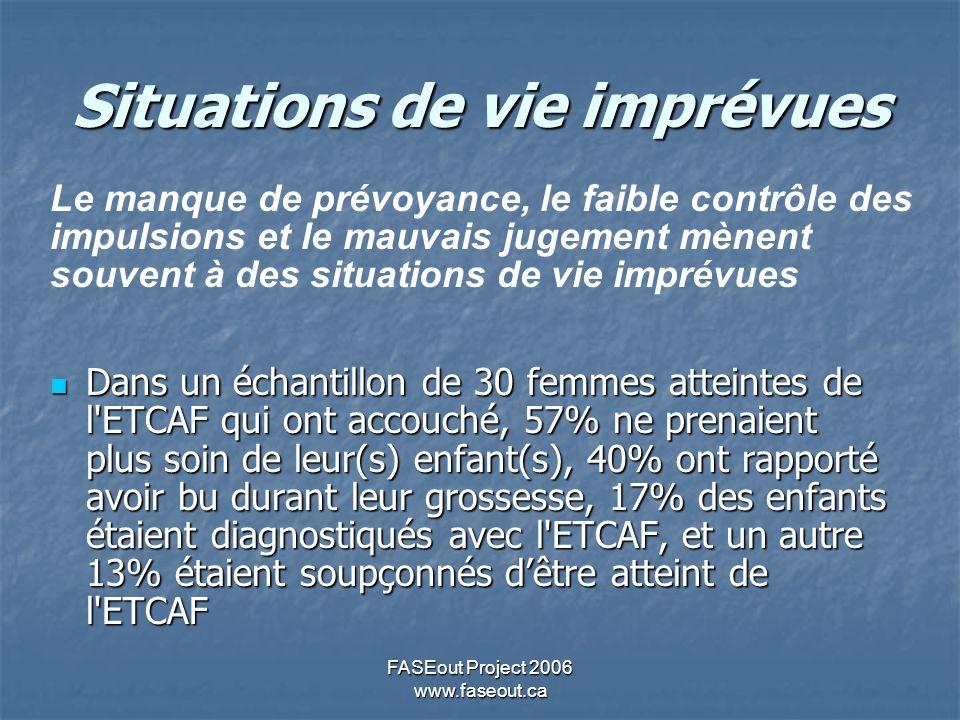 FASEout Project 2006 www.faseout.ca Situations de vie imprévues Dans un échantillon de 30 femmes atteintes de l ETCAF qui ont accouché, 57% ne prenaient plus soin de leur(s) enfant(s), 40% ont rapporté avoir bu durant leur grossesse, 17% des enfants étaient diagnostiqués avec l ETCAF, et un autre 13% étaient soupçonnés dêtre atteint de l ETCAF Dans un échantillon de 30 femmes atteintes de l ETCAF qui ont accouché, 57% ne prenaient plus soin de leur(s) enfant(s), 40% ont rapporté avoir bu durant leur grossesse, 17% des enfants étaient diagnostiqués avec l ETCAF, et un autre 13% étaient soupçonnés dêtre atteint de l ETCAF Le manque de prévoyance, le faible contrôle des impulsions et le mauvais jugement mènent souvent à des situations de vie imprévues