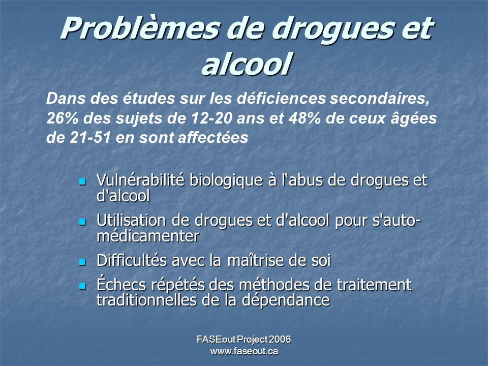 FASEout Project 2006 www.faseout.ca Problèmes de drogues et alcool Dans des études sur les déficiences secondaires, 26% des sujets de 12-20 ans et 48%
