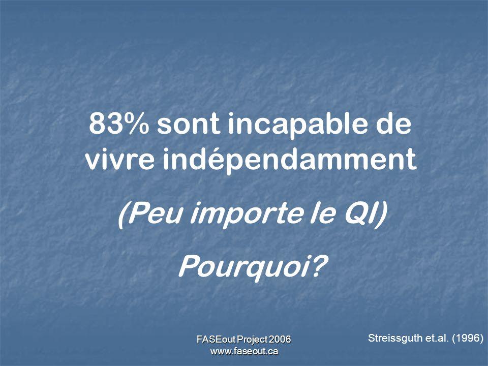 FASEout Project 2006 www.faseout.ca Streissguth et.al. (1996) 83% sont incapable de vivre indépendamment (Peu importe le QI) Pourquoi?