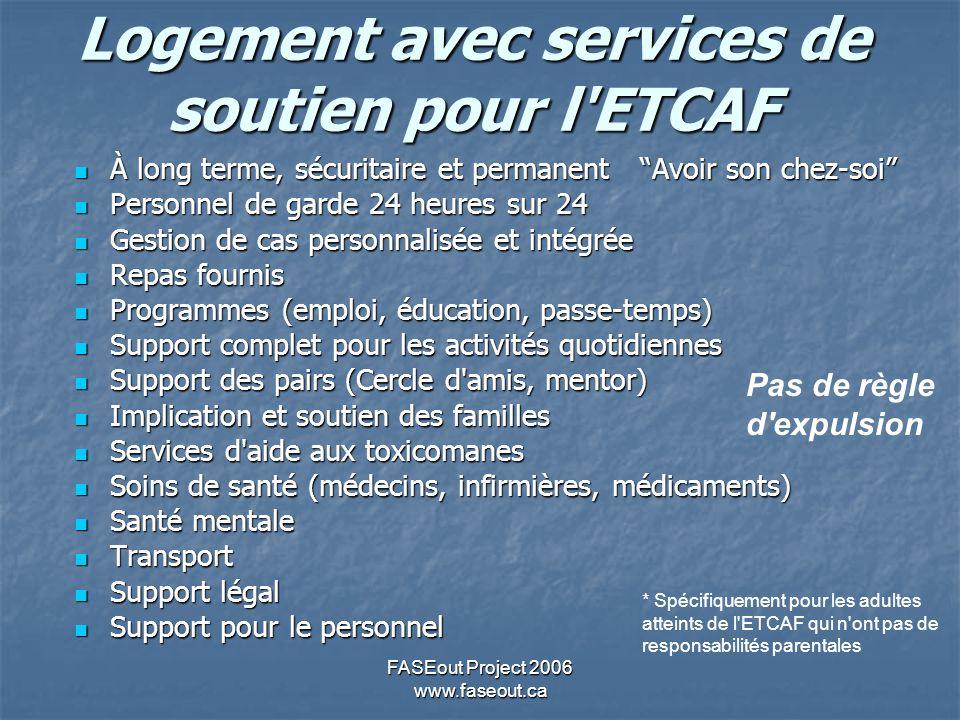 FASEout Project 2006 www.faseout.ca Logement avec services de soutien pour l'ETCAF À long terme, sécuritaire et permanent Avoir son chez-soi À long te