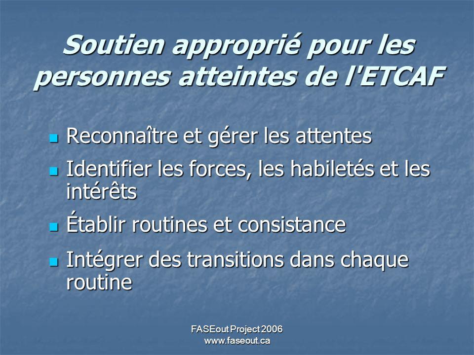 FASEout Project 2006 www.faseout.ca Soutien approprié pour les personnes atteintes de l'ETCAF Reconnaître et gérer les attentes Reconnaître et gérer l