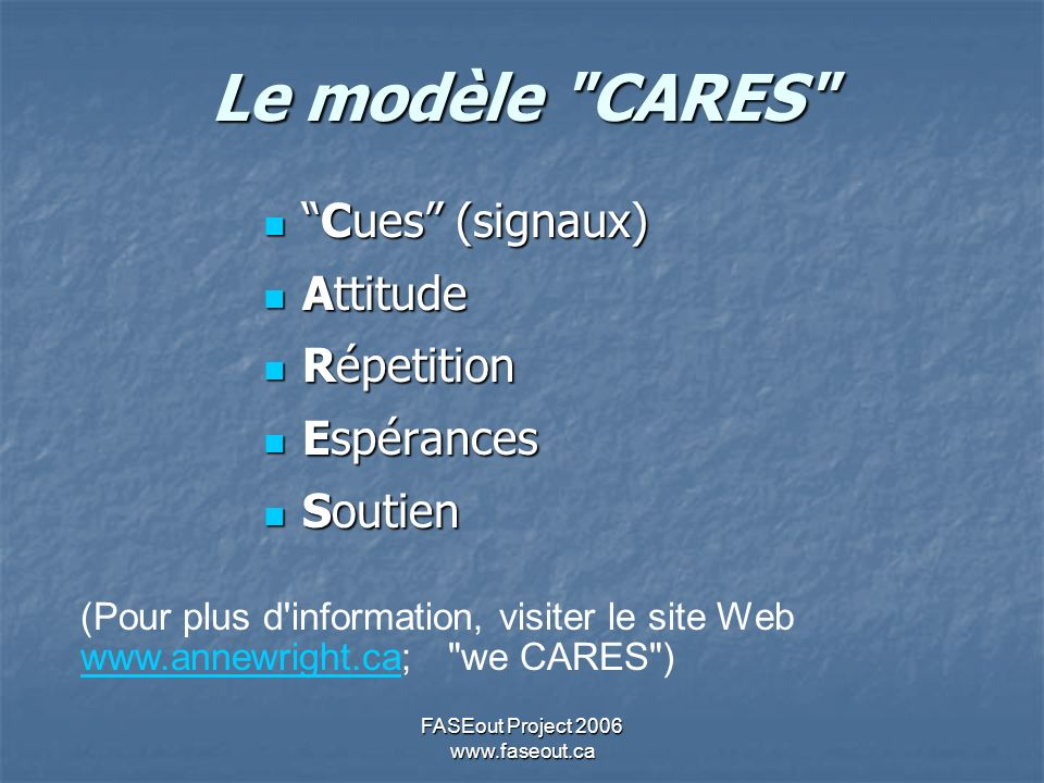 FASEout Project 2006 www.faseout.ca Le modèle CARES Cues (signaux)Cues (signaux) Attitude Attitude Répetition Répetition Espérances Espérances Soutien Soutien (Pour plus d information, visiter le site Web www.annewright.ca; we CARES ) www.annewright.ca