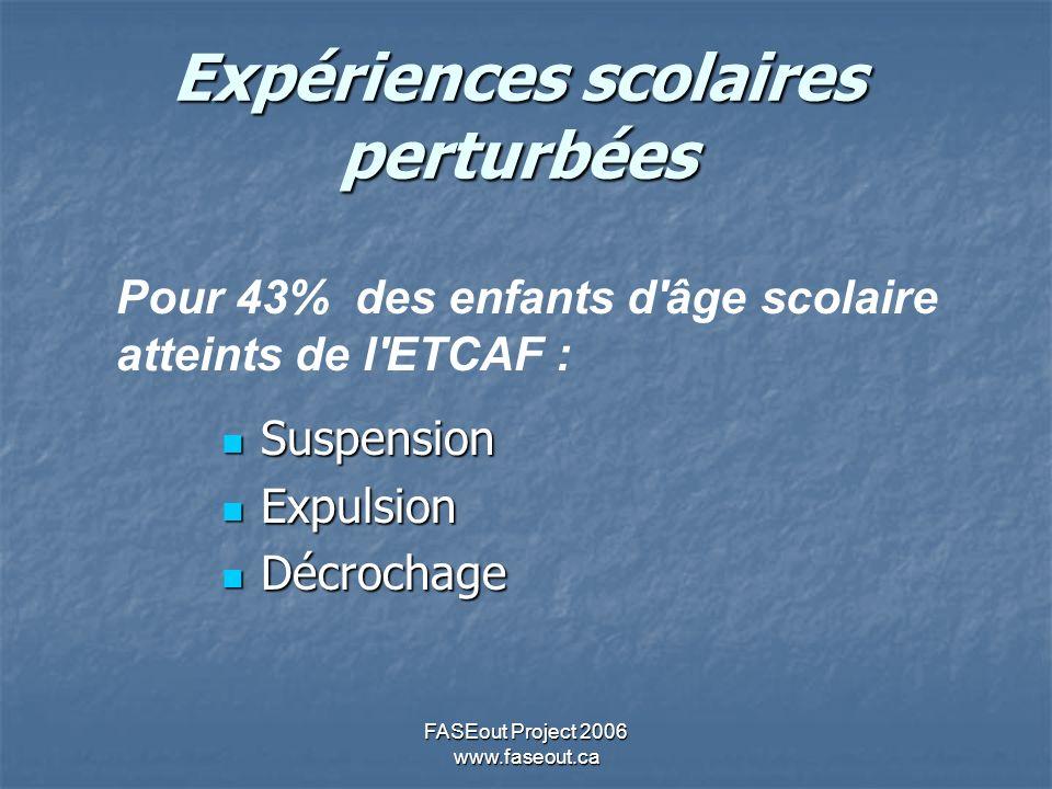 FASEout Project 2006 www.faseout.ca Expériences scolaires perturbées Suspension Suspension Expulsion Expulsion Décrochage Décrochage Pour 43% des enfants d âge scolaire atteints de l ETCAF :