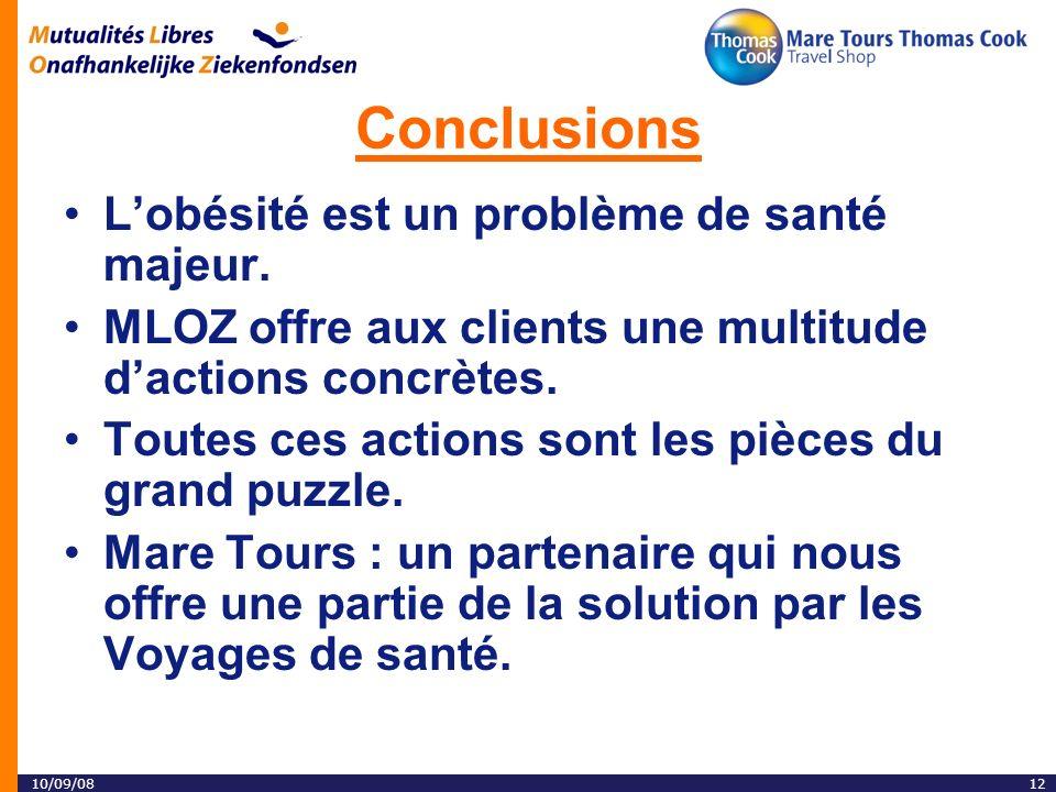 10/09/0812 Conclusions Lobésité est un problème de santé majeur.