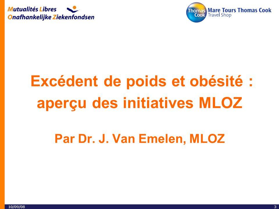 310/09/08 Excédent de poids et obésité : aperçu des initiatives MLOZ Par Dr. J. Van Emelen, MLOZ