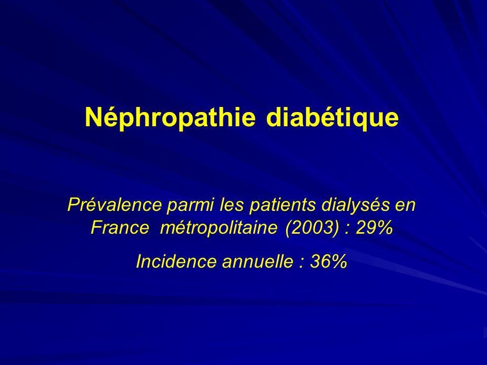 Néphropathie diabétique Prévalence parmi les patients dialysés en France métropolitaine (2003) : 29% Incidence annuelle : 36%