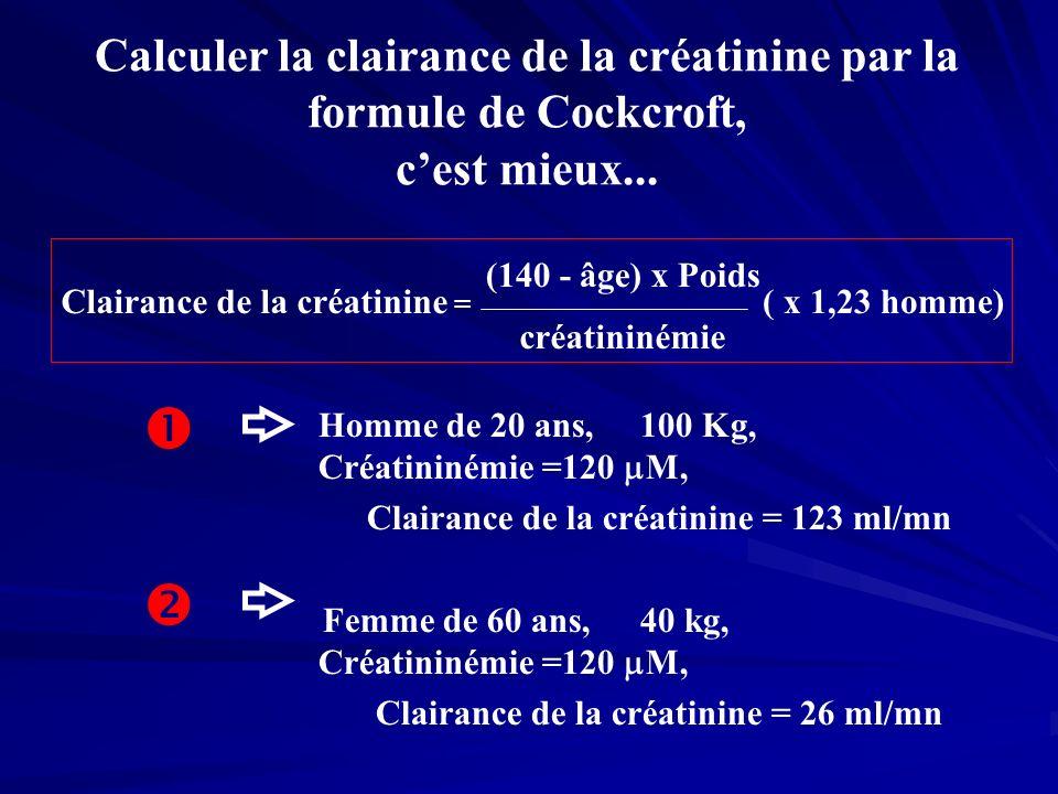 Calculer la clairance de la créatinine par la formule de Cockcroft, cest mieux... Clairance de la créatinine = (140 - âge) x Poids créatininémie ( x 1