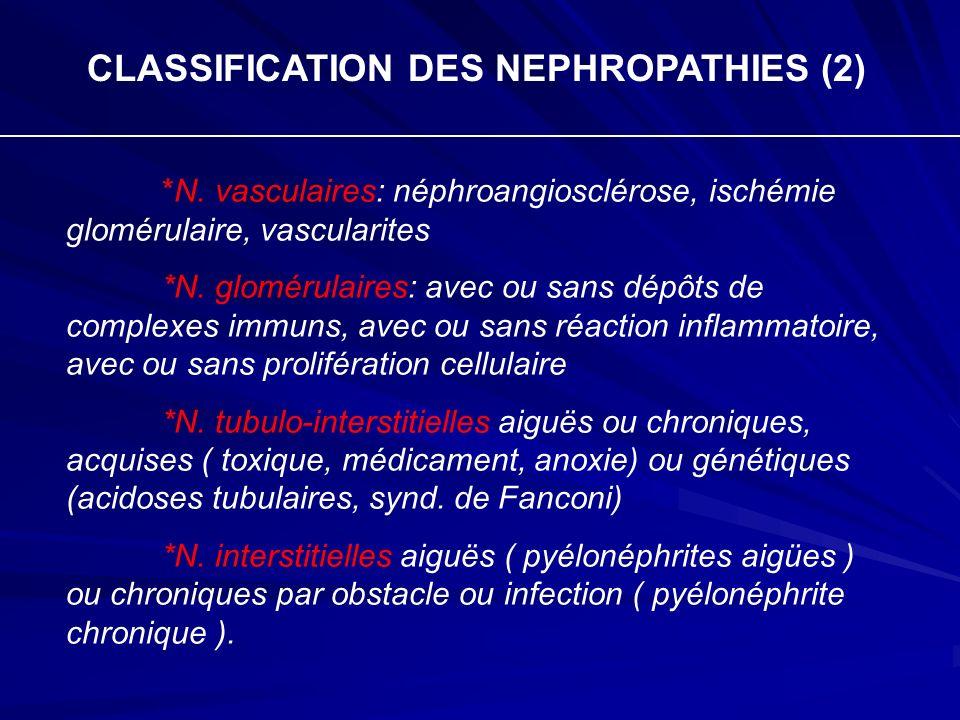 CLASSIFICATION DES NEPHROPATHIES (2) *N. vasculaires: néphroangiosclérose, ischémie glomérulaire, vascularites *N. glomérulaires: avec ou sans dépôts