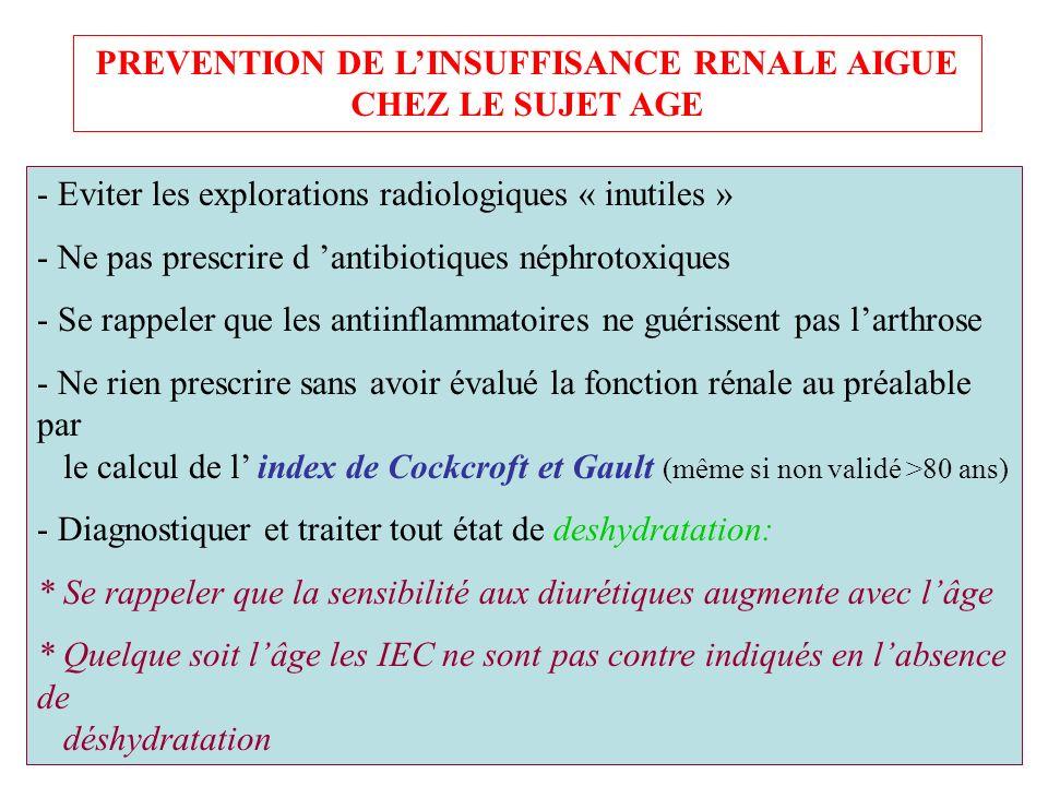PREVENTION DE LINSUFFISANCE RENALE AIGUE CHEZ LE SUJET AGE - Eviter les explorations radiologiques « inutiles » - Ne pas prescrire d antibiotiques nép