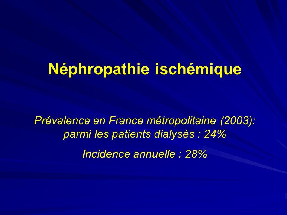Néphropathie ischémique Prévalence en France métropolitaine (2003): parmi les patients dialysés : 24% Incidence annuelle : 28%