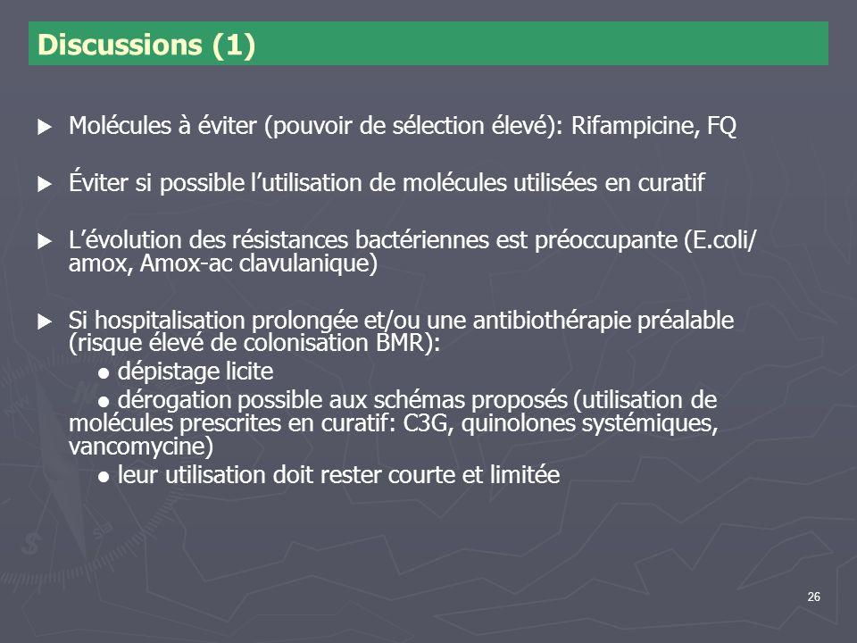 26 Discussions (1) Molécules à éviter (pouvoir de sélection élevé): Rifampicine, FQ Éviter si possible lutilisation de molécules utilisées en curatif