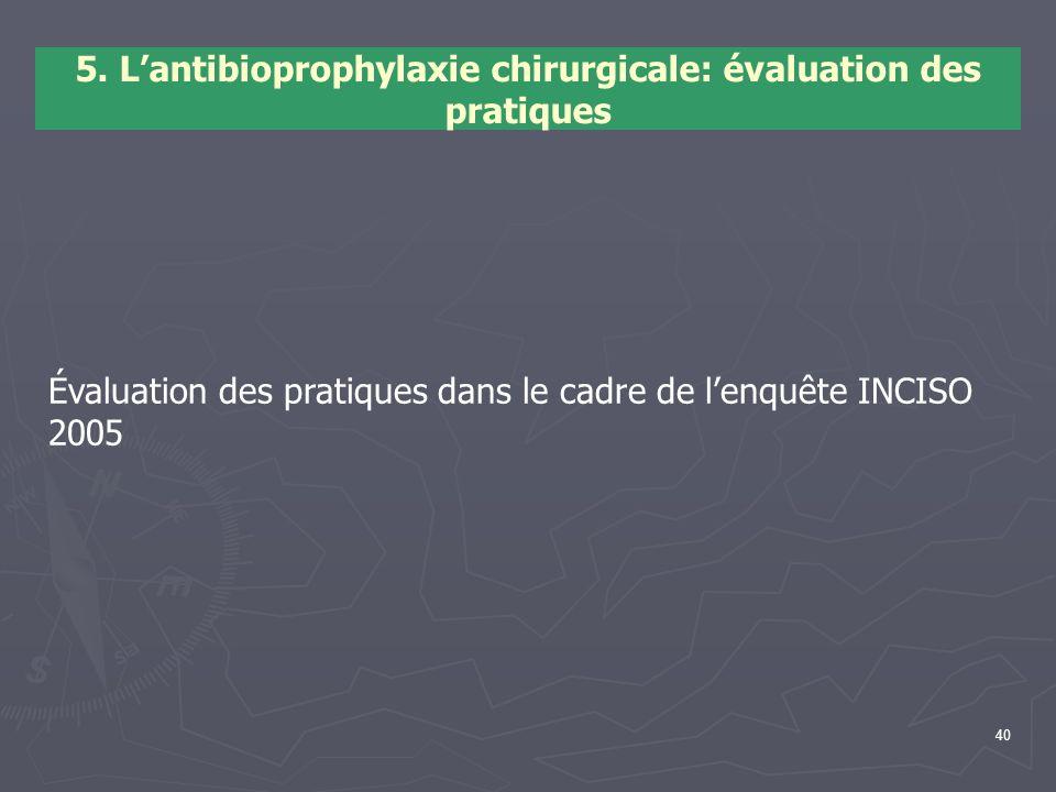 40 5. Lantibioprophylaxie chirurgicale: évaluation des pratiques Évaluation des pratiques dans le cadre de lenquête INCISO 2005