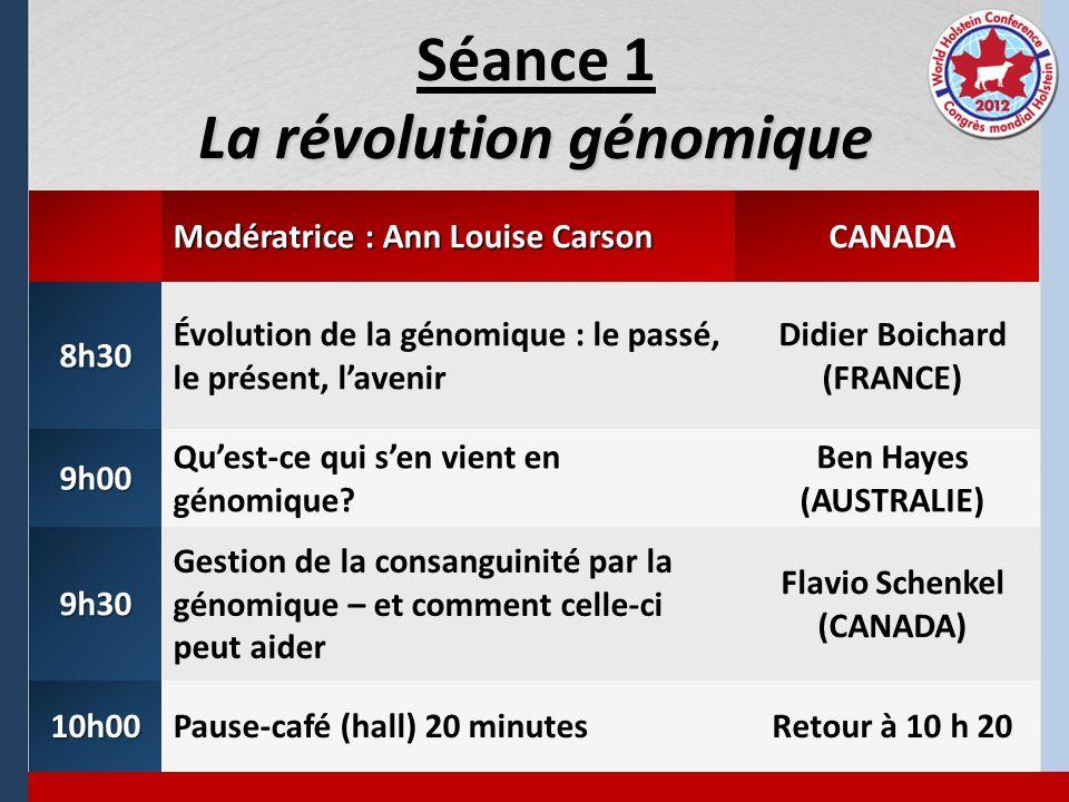 La révolution génomique Séance 1 La révolution génomique Modératrice : Ann Louise Carson CANADA 8h30 Évolution de la génomique : le passé, le présent,