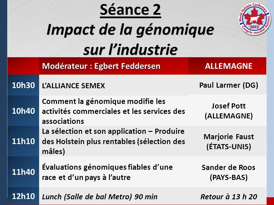 Impact de la génomique sur lindustrie Séance 2 Impact de la génomique sur lindustrie Modérateur : Egbert Feddersen ALLEMAGNE 10h30 LALLIANCE SEMEX Pau