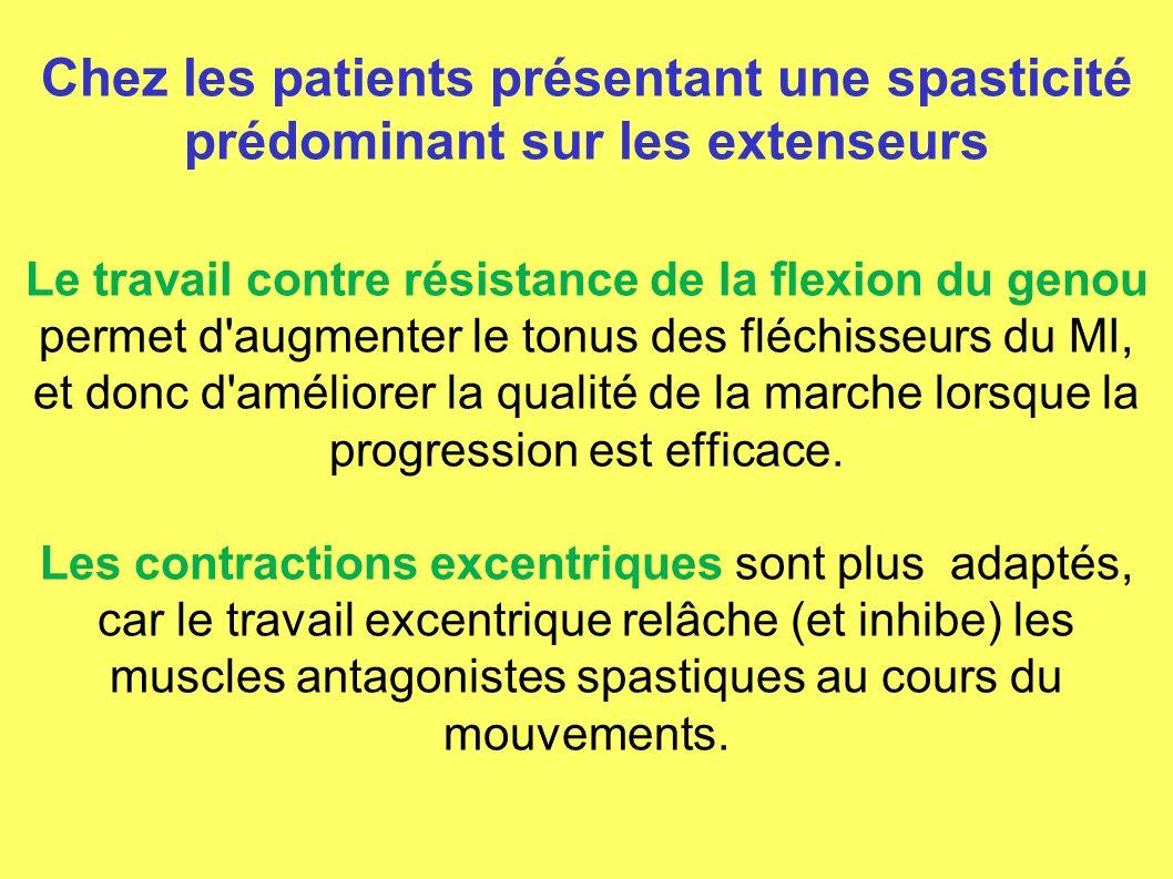 Chez les patients présentant une spasticité prédominant sur les extenseurs Le travail contre résistance de la flexion du genou permet d'augmenter le t