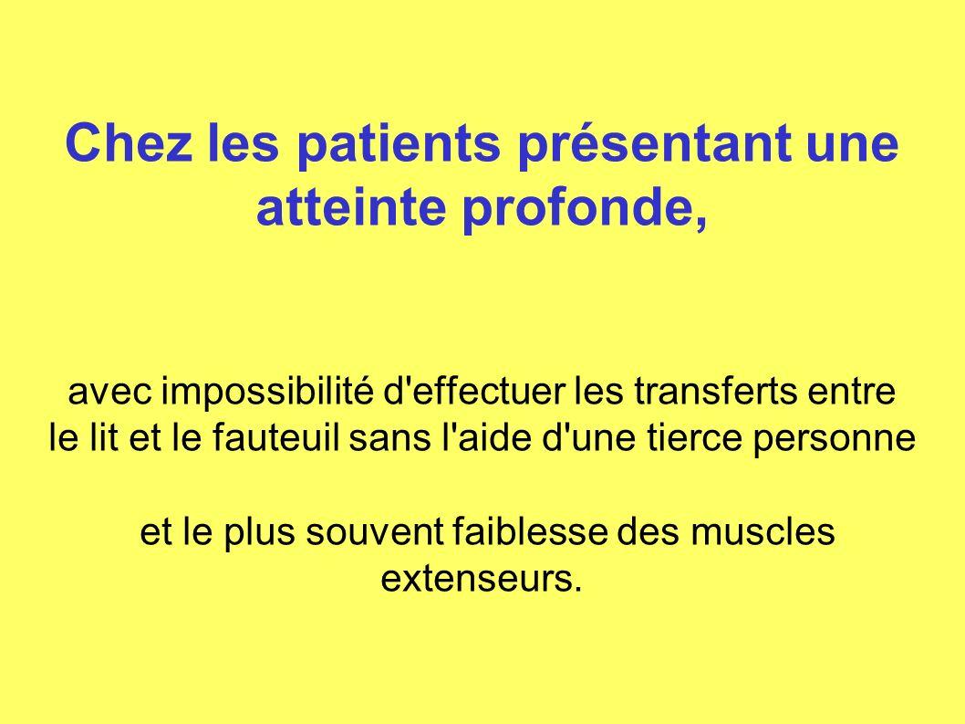 Chez les patients présentant une atteinte profonde, avec impossibilité d'effectuer les transferts entre le lit et le fauteuil sans l'aide d'une tierce