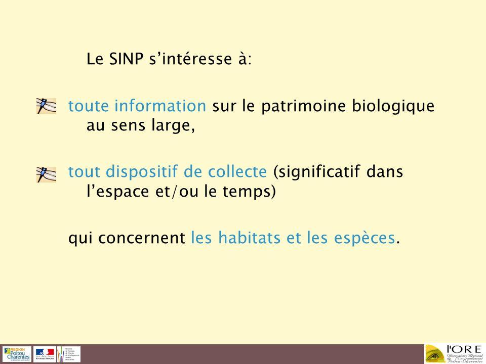 Le SINP sintéresse à: toute information sur le patrimoine biologique au sens large, tout dispositif de collecte (significatif dans lespace et/ou le te