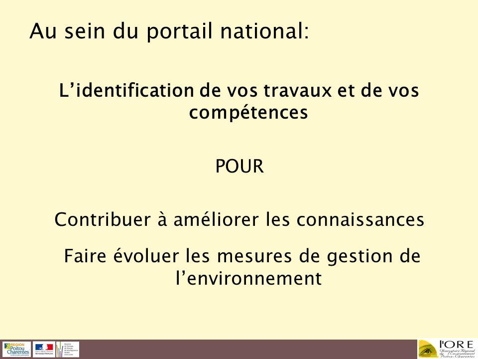 Au sein du portail national: Lidentification de vos travaux et de vos compétences POUR Contribuer à améliorer les connaissances Faire évoluer les mesu