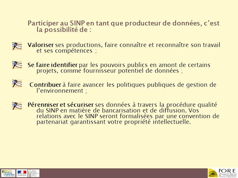 Participer au SINP en tant que producteur de données, cest la possibilité de : Valoriser ses productions, faire connaître et reconnaître son travail e