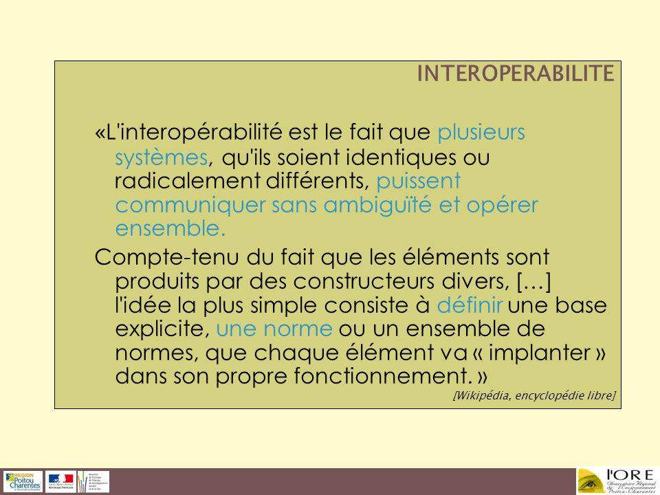 INTEROPERABILITE « L'interopérabilité est le fait que plusieurs systèmes, qu'ils soient identiques ou radicalement différents, puissent communiquer sa