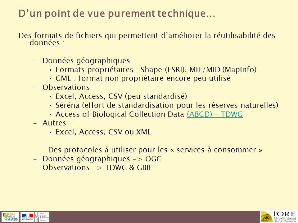 Dun point de vue purement technique… Des formats de fichiers qui permettent daméliorer la réutilisabilité des données : –Données géographiques Formats