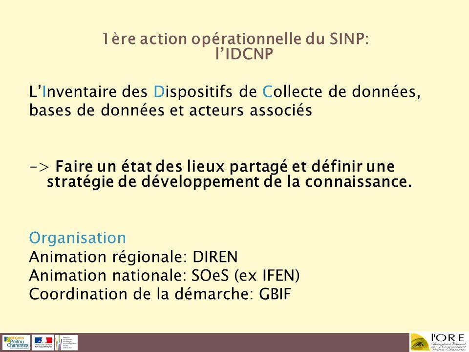 1ère action opérationnelle du SINP: lIDCNP LInventaire des Dispositifs de Collecte de données, bases de données et acteurs associés -> Faire un état d