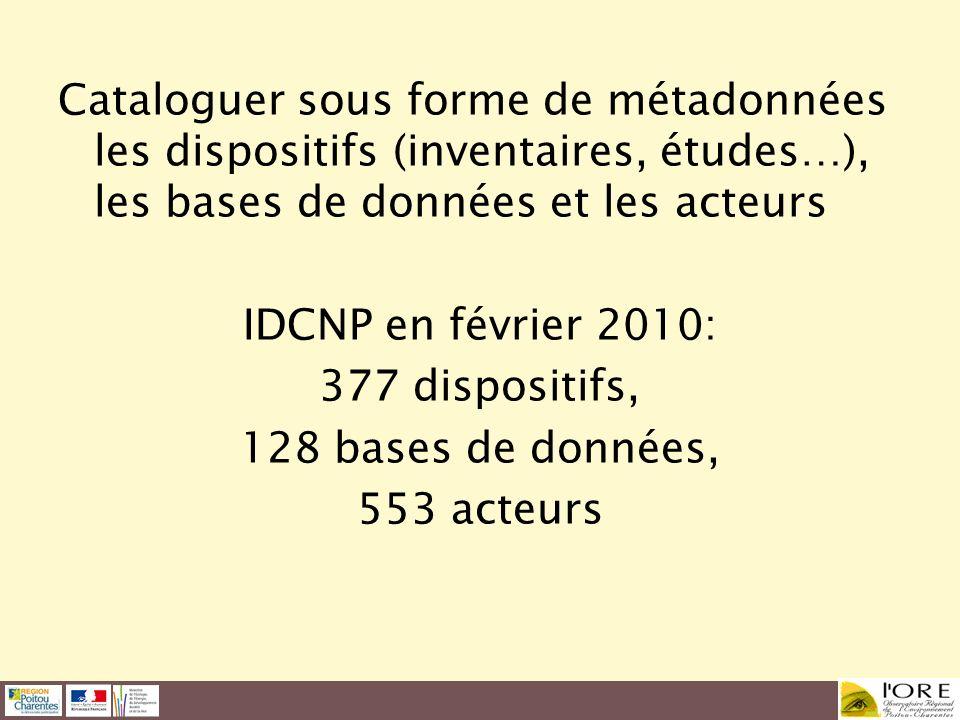 Cataloguer sous forme de métadonnées les dispositifs (inventaires, études…), les bases de données et les acteurs IDCNP en février 2010: 377 dispositif