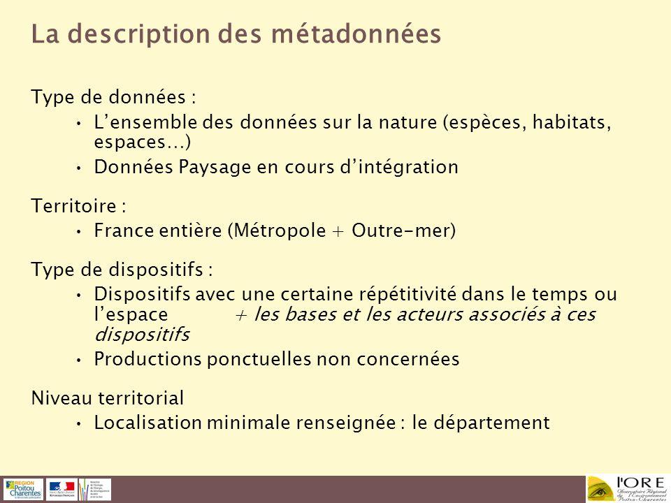 La description des métadonnées Type de données : Lensemble des données sur la nature (espèces, habitats, espaces…) Données Paysage en cours dintégrati