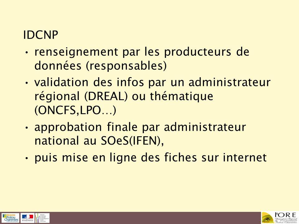 IDCNP renseignement par les producteurs de données (responsables) validation des infos par un administrateur régional (DREAL) ou thématique (ONCFS,LPO