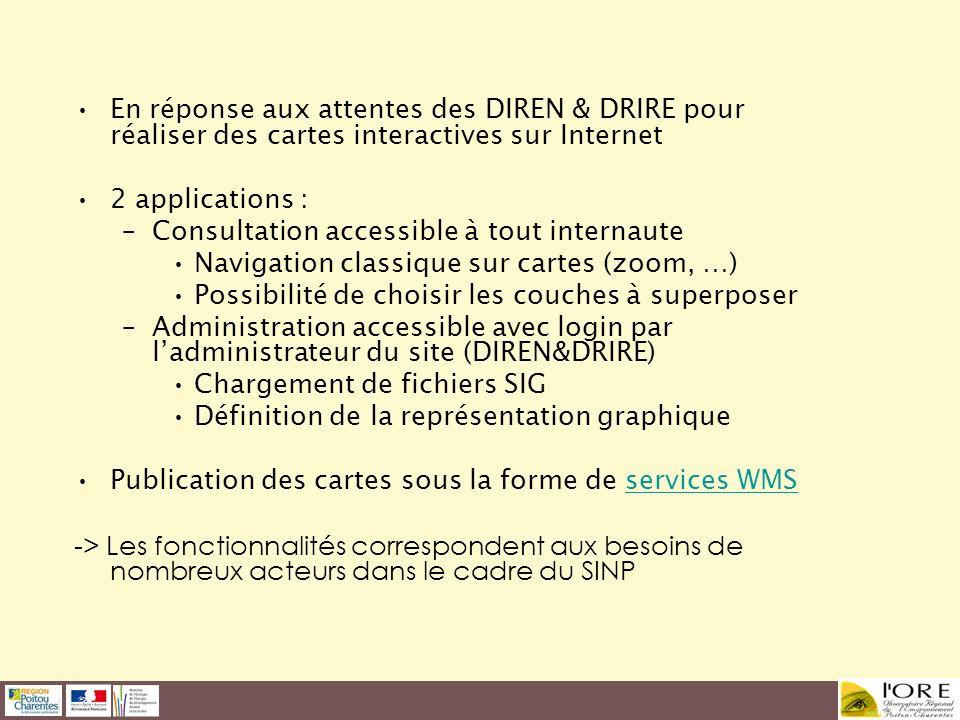 En réponse aux attentes des DIREN & DRIRE pour réaliser des cartes interactives sur Internet 2 applications : –Consultation accessible à tout internau