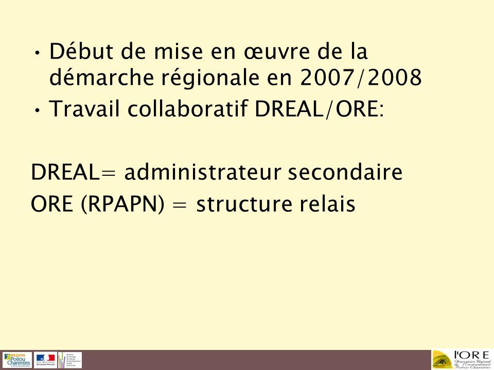Début de mise en œuvre de la démarche régionale en 2007/2008 Travail collaboratif DREAL/ORE: DREAL= administrateur secondaire ORE (RPAPN) = structure