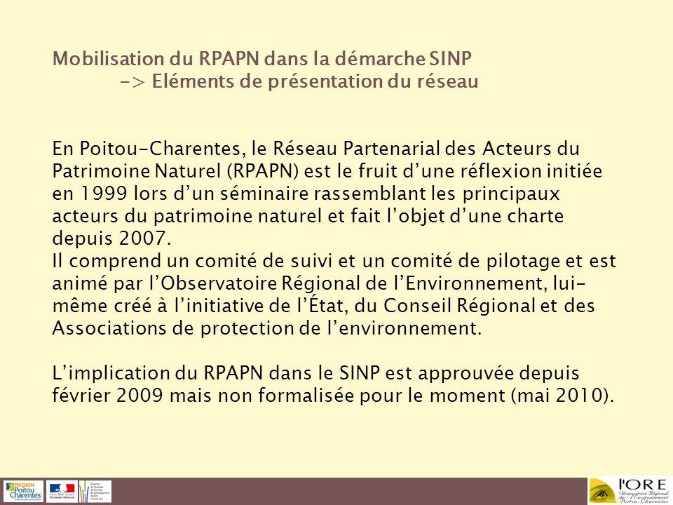 Mobilisation du RPAPN dans la démarche SINP -> Eléments de présentation du réseau En Poitou-Charentes, le Réseau Partenarial des Acteurs du Patrimoine