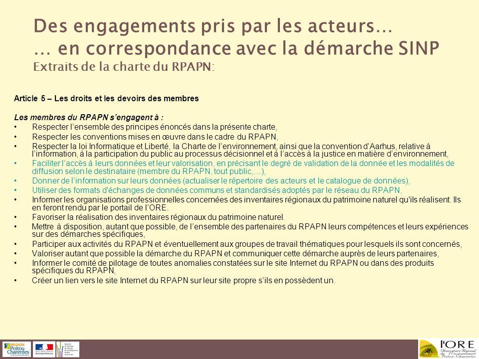 Article 5 – Les droits et les devoirs des membres Les membres du RPAPN sengagent à : Respecter lensemble des principes énoncés dans la présente charte