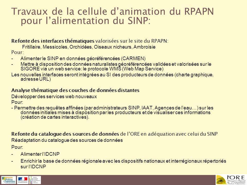 Travaux de la cellule danimation du RPAPN pour lalimentation du SINP: Refonte des interfaces thématiques valorisées sur le site du RPAPN: Fritillaire,