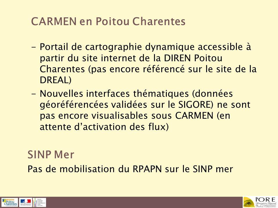 CARMEN en Poitou Charentes -Portail de cartographie dynamique accessible à partir du site internet de la DIREN Poitou Charentes (pas encore référencé