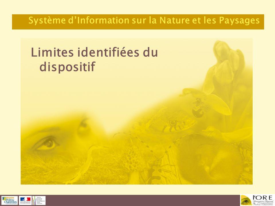 Limites identifiées du dispositif Système dInformation sur la Nature et les Paysages