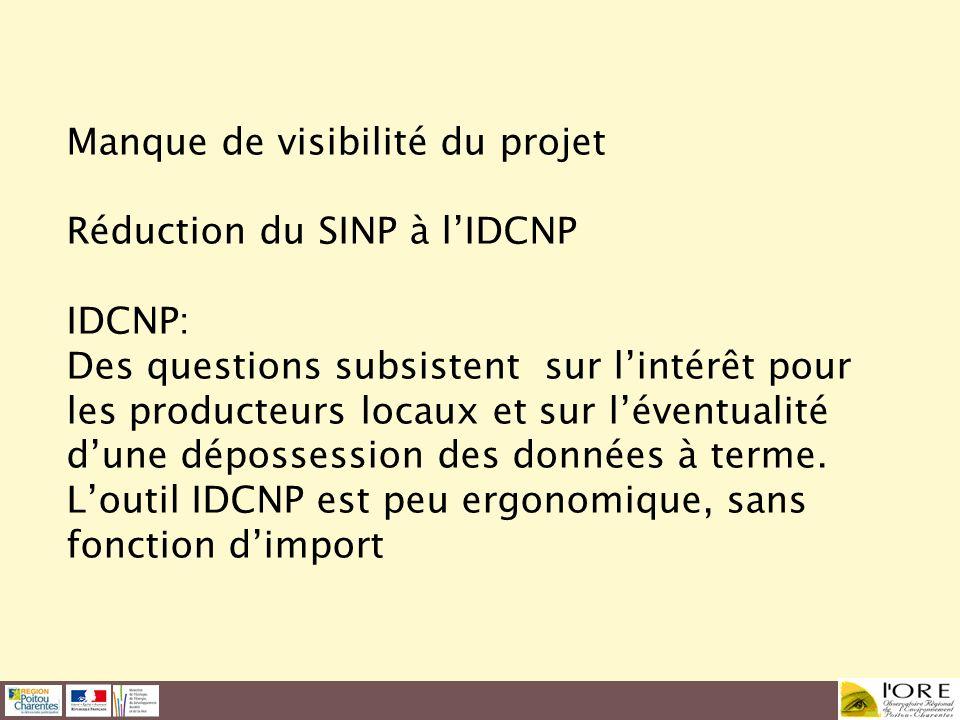 Manque de visibilité du projet Réduction du SINP à lIDCNP IDCNP: Des questions subsistent sur lintérêt pour les producteurs locaux et sur léventualité
