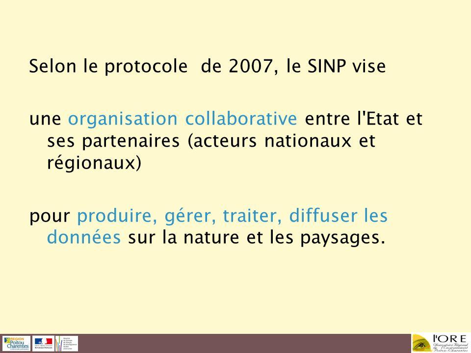 Selon le protocole de 2007, le SINP vise une organisation collaborative entre l'Etat et ses partenaires (acteurs nationaux et régionaux) pour produire