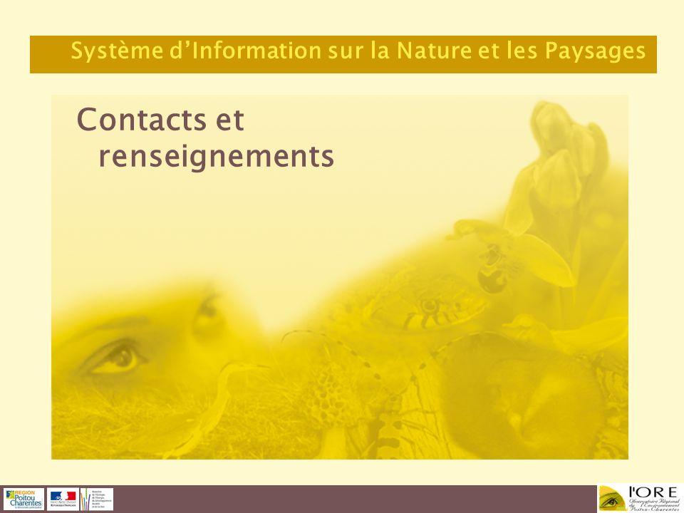 Contacts et renseignements Système dInformation sur la Nature et les Paysages