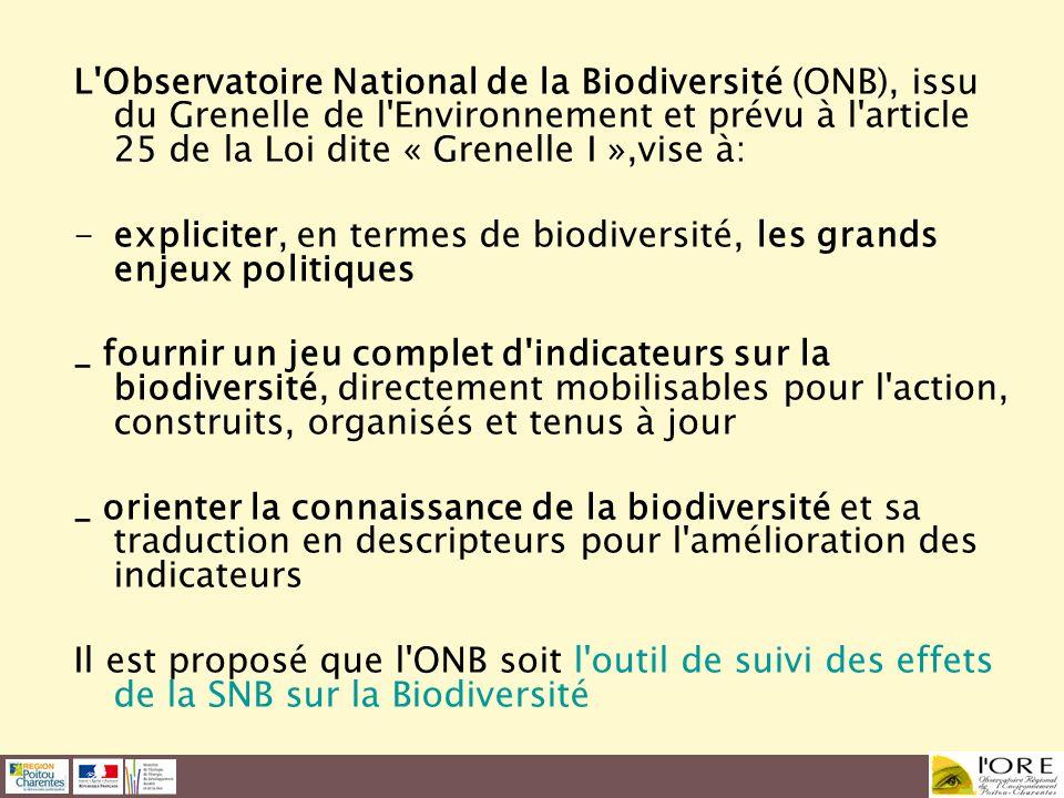 L'Observatoire National de la Biodiversité (ONB), issu du Grenelle de l'Environnement et prévu à l'article 25 de la Loi dite « Grenelle I »,vise à: -e