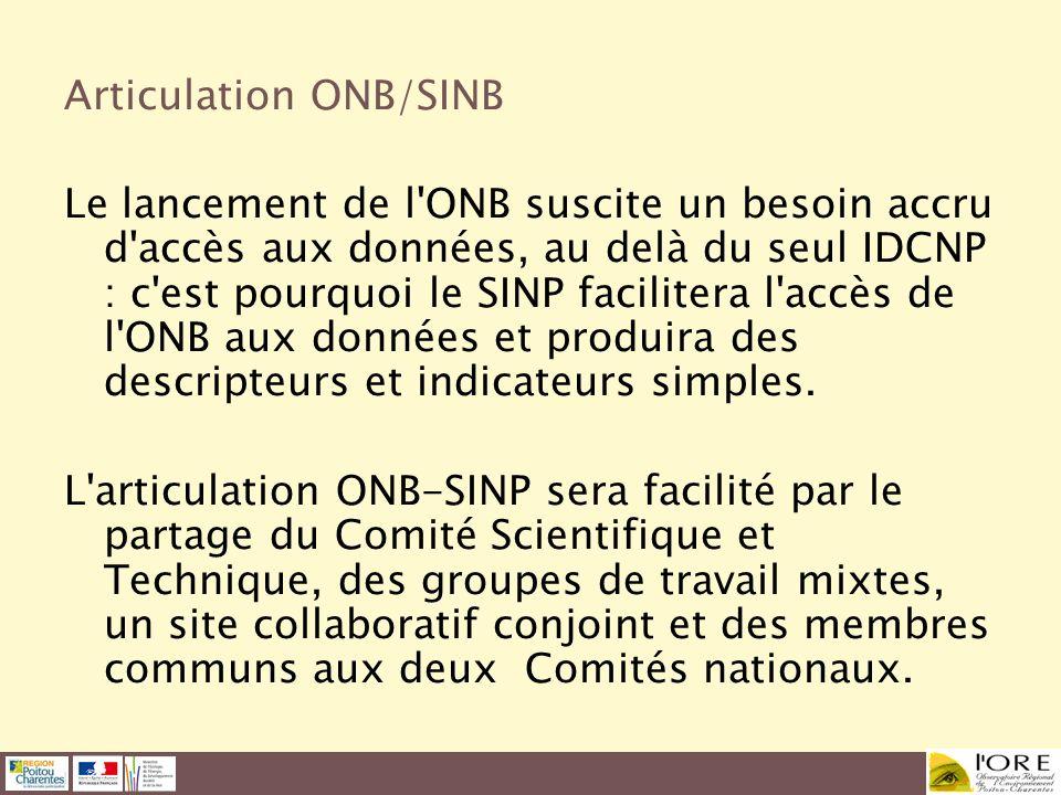 Articulation ONB/SINB Le lancement de l'ONB suscite un besoin accru d'accès aux données, au delà du seul IDCNP : c'est pourquoi le SINP facilitera l'a