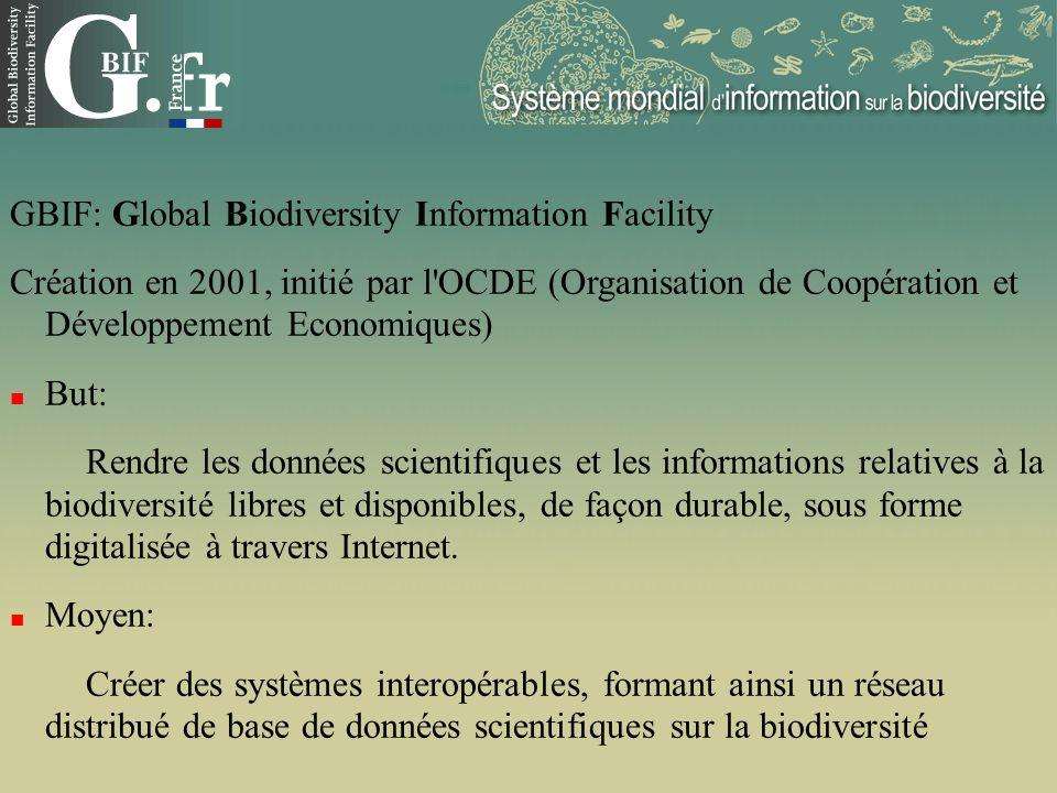GBIF: Global Biodiversity Information Facility Création en 2001, initié par l'OCDE (Organisation de Coopération et Développement Economiques) But: Ren